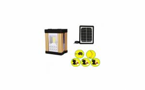 Sistem iluminare cu incarcare solara 3 becuri Led, iesire USB pentru incarcare telefon mobil, panou solar detasabil, aluminiu