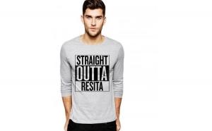Bluza barbati gri cu text negru - Straight Outta Resita