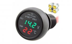 Pachet 1+1-Incarcator auto 2,1A /Termometru & Voltmetru digital, 12-24 Volti + Capace Valva- Ventil Auto 1set/4buc