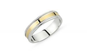 Inel argint lat cu banda placata cu aur
