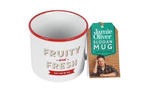 """Cana din ceramica, JAMIE OLIVER, 400 ml, mesaj """"Fruity and Fresh"""", cana cafea / ceai, d 9 cm, h 8 cm"""