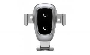 Suport Auto Baseus, Incarcare Wireless, Metal Gravity Air Vent + Cablu Micro USB, Argintiu