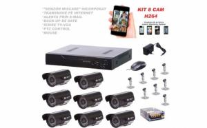 Kit sistem supraveghere, 8 camere interior/exterior, DVR, 8 canale, imaginile captate pot fi interceptate si vizualizate pe orice dispozitiv mobil sau fix