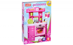 Bucatarie pentru fetite Princess, 16 piese, inaltime 72 cm