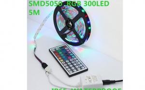 Banda luminoasa multicolora RGB, waterproof, 300 leduri SMD 5050 12v cu controler si telecomanda wireless, la doar 95 RON in loc de 200 RON