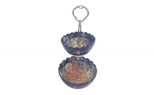 Bol ceramica handmade stil turcesc supra etajata, 25 cm, Albastru, EHA