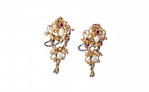 Cercei din aur 14K cu opale