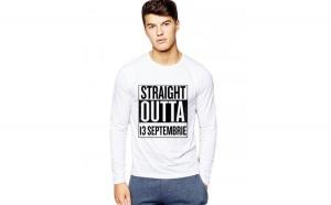 Bluza barbati alba - Straight Outta 13 Septembrie