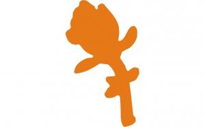 Sticker portocaliu in forma de floare, 6 x 10 cm