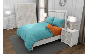 Lenjerie de pat matrimonial cu husa elastic pat si 4 huse perna cu mix dimensiuni, Duo Turquoise, bumbac satinat, gramaj tesatura 120 g mp, Turcoaz Portocaliu, 6 piese