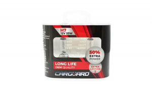 CARGUARD - Set de 2 becuri Halogen H7, 55W, +50% Intensitate - LONG LIFE GLZ-BHA014