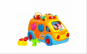 Jucarie interactiva multifunctionala Happy Bus, sunete si lumini, forme de animale, materiale foarte rezistente si non-toxice
