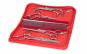 Set de 4 foarfeci profesionale + 1 pieptan pentru tuns animale, trusa piele rosie