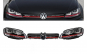 Ansamblu Faruri 3D Semnal LED + Grila compatibil cu VW Golf 7 VII (2012-2017) R20 GTI Design Rosu
