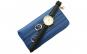 Pachet portofel elegant de dama - albastru regal + ceas elegant de dama slim, model clasic, curea neagra