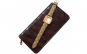 Pachet portofel elegant de dama - visiniu + ceas elegant de dama kms dreptunghiular