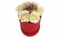 Aranjament trandafir criogenat auriu cu trandafiri de sapun crem in cutie rosie