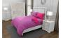Lenjerie de pat matrimonial cu husa elastic pat si 4 huse perna patrata si mix culori, Duo Pink, bumbac satinat, gramaj tesatura 120 g mp, Roz Fucsia, 6 piese