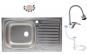 Pachet Chiuveta 9188ST anticalcalcar pentru blat 77 x 43.5 cm, cuva stanga + Baterie buctarie cu pipa flexibila 0382 + Sifon scurgere cu preaplin