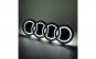 Emblema haion LED alb pentru Audi, 18cm x 5,8cm, universala