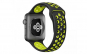 Curea sport perforata, Compatibila cu Apple Watch 1/2/3/4, Bratara din Silicon, 40mm, Negru-Verde