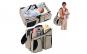 Kit de calatorie pentru bebelusi, 3 in 1, geanta accesorii, pat pliant, masuta de infasat, crem, 0 luni+