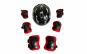 Set de protectie pentru copii, genunchiere, cotiere, aparatori maini si casca reglabile, negru cu rosu