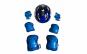 Set de protectie pentru copii, genunchiere, cotiere, aparatori maini si casca reglabile, albastru cu gri