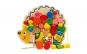 Jucarie Montessori 2 in 1, Ariciul cu fructe, snuruit si insirat, 19 accesorii, lemn vopsit cu lacuri non-toxice