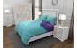 Lenjerie de pat matrimonial cu husa elastic pat si 4 huse perna cu mix dimensiuni, Duo Turquoise, bumbac satinat, gramaj tesatura 120 g mp, Turcoaz Mov, 6 piese