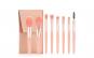 Set 8 pensule machiaj profesional, din fibre sintetice si maner de lemn, roz