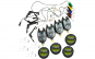 Set 4 Avertizori / Senzori TLI 01, 4 Swingeri Cilindrici, 4 gute Cool Angel de 0,30mm si 4 monturi