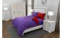 Lenjerie de pat matrimonial cu 4 huse perna patrata si mix culori, Duo Purple, bumbac satinat, gramaj tesatura 120 g mp, Mov Rosu, 6 piese