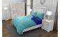 Lenjerie de pat pentru o persoana cu husa de perna dreptunghiulara, Duo Turquoise, bumbac satinat, gramaj tesatura 120 g mp, Turcoaz Albastru, 3 piese