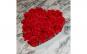 Aranjament floral cu trandafiri sapun, rosu, 21 fire, cutie inima