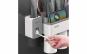 Dozator, dispenser pasta de dinti cu suport multifunctional magnetic pentru 3 pahare, 6 periute si suport telefon mobil de culoare gri cu alb