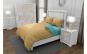 Lenjerie de pat pentru o persoana cu husa elastic pat si fata perna dreptunghiulara, Duo Beige, bumbac satinat, gramaj tesatura 120 g mp, Bej Turcoaz, 3 piese