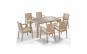 Set mobilier terasa / gradina Liverno, 6 scaune si masa cu geam 90 x 150 cm, ratan, bej