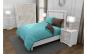 Lenjerie de pat pentru o persoana cu 2 huse de perna dreptunghiulara cu mix culoare, Duo Turquoise, bumbac satinat, gramaj tesatura 120 g mp, Turcoaz Maro, 4 piese