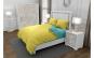 Lenjerie de pat pentru o persoana cu husa elastic pat si 2 fete perna patrata, Duo Yellow, bumbac satinat, gramaj tesatura 120 g mp, Galben Turcoaz, 4 piese