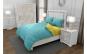Lenjerie de pat pentru o persoana cu 2 huse de perna dreptunghiulara, Duo Turquoise, bumbac satinat, gramaj tesatura 120 g mp, Turcoaz Galben, 4 piese