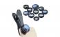 Set lentile 10 in 1 profesionale pentru telefoane si tablete Apexel - 10 in 1 Fisheye, Macro 15x, Wide, Telescope 2x, Kaleidoscope, CPL, Flow, Radial, Star, cu clip universal