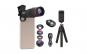 Set lentile 4 in 1 profesionale Apexel APL-T18BZJ5 - 4 in 1 Telecomanda, Obiectiv 18x, 0.63x Wide + Macro 15X, FishEye 198 grade, cu clip universal pentru camera foto, telefoane sau tablete