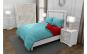 Lenjerie de pat pentru o persoana cu 2 huse de perna dreptunghiulara, Duo Turquoise, bumbac satinat, gramaj tesatura 120 g mp, Turcoaz Rosu, 4 piese