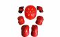 Set de protectie pentru copii, genunchiere, cotiere, aparatori maini si casca reglabila, rosu