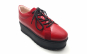Pantofi dama cu siret VDM052 din piele naturala bizonata rosie