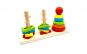 Jucarie Montessori cu sortator 3 coloane forme geometrice, lemn bine finisat, lacuri non-toxice