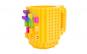 Cana customizabila cu piese Lego, Galben, 350 ml