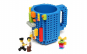 Cana customizabila cu piese Lego, Albastru, 350 ml