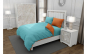 Lenjerie de pat pentru o persoana cu husa elastic pat si 2 fete perna dreptunghiulara cu mix culoare, Duo Turquoise, bumbac satinat, gramaj tesatura 120 g mp, Turcoaz Portocaliu, 4 piese